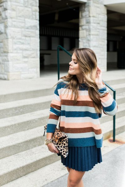 royal blue green and pink striped sweater with pleated mini skirt