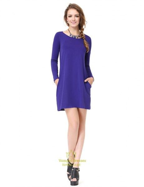 royal blue long sleeve mini shift dress with platform heeled sandals