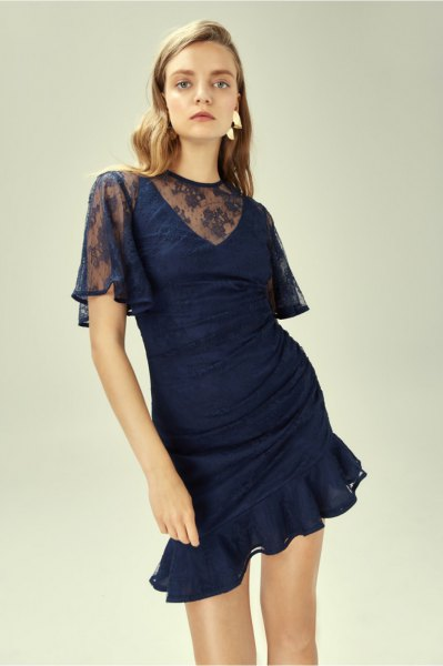 semi sheer ruffle hem mini dress with white open toe heels