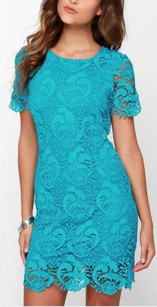 short sleeve mini bodycon aqua blue lace dress