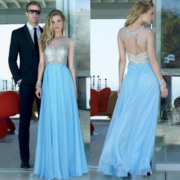 silver and light blue open back maxi flowy dress