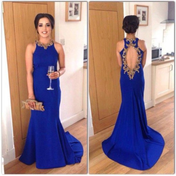 sleeveless open back royal blue gown