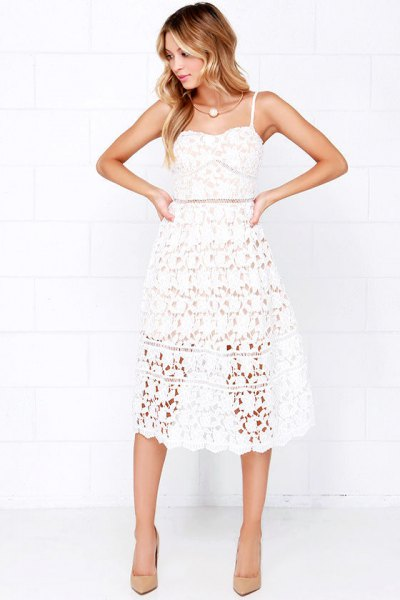 spaghetti strap fit and flare midi lace dress with pink heels
