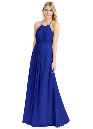 spaghetti strap royal blue gown with silver open toe heels