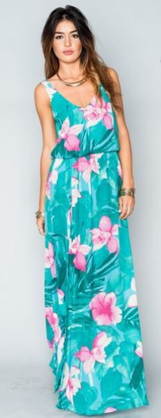 teal blue and white sleeveless scoop neck maxi hawaiian print dress