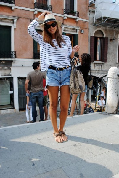 white and black striped long sleeve t shirt with cut off denim shorts