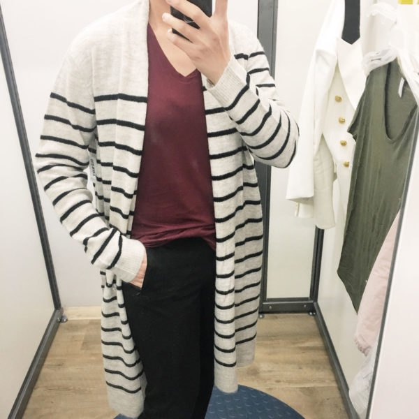 white and black striped longline cardigan with grey v neck top