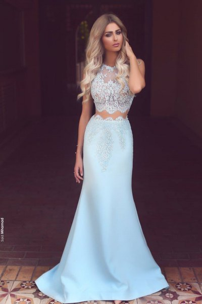 white and light blue two piece mermaid prom dress