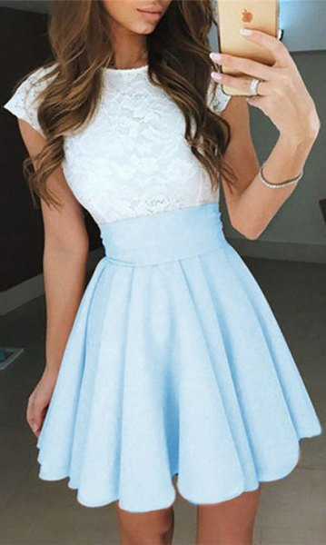 white and light sky blue two toned short dress