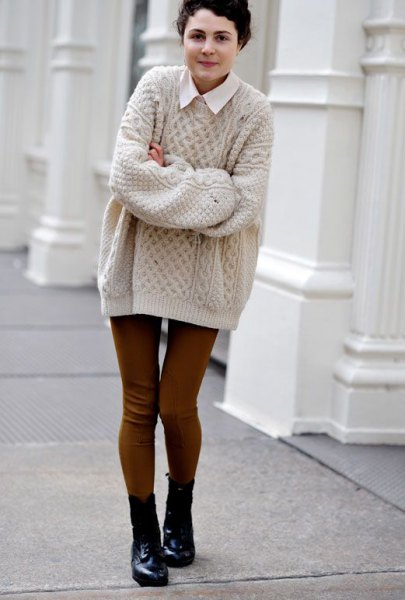 white collar shirt with light pink cable knit big sweater