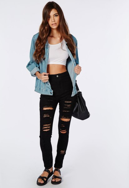 white crop top with blue denim jacket and ripped black skinny jeans