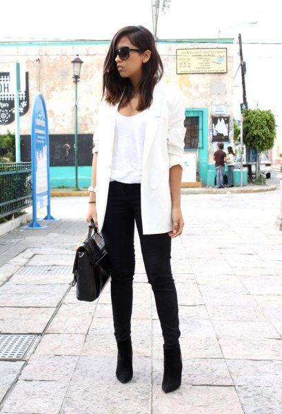 white longline blazer with black ankle suede boots
