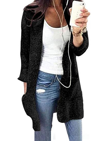 white scoop neck form fitting tank top with black longline cardigan sweater