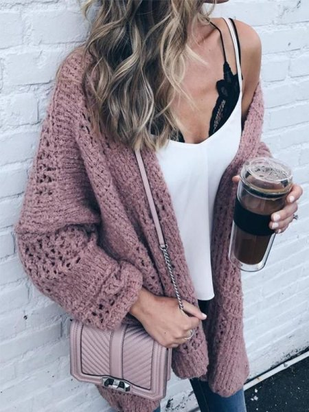white tank top with grey oversized sweater cardigan