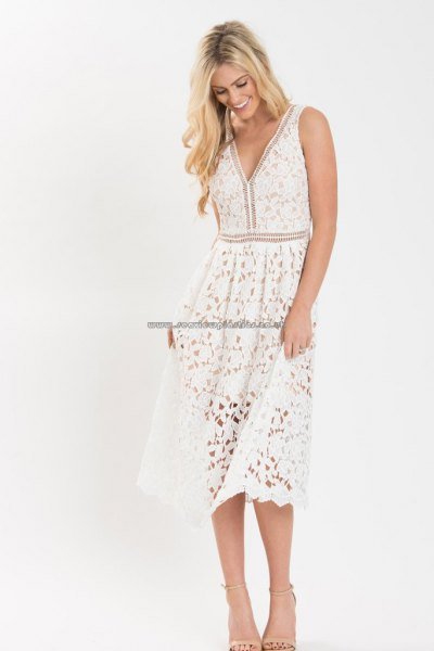 white v neck fit and flare tank midi lace dress with open toe heels