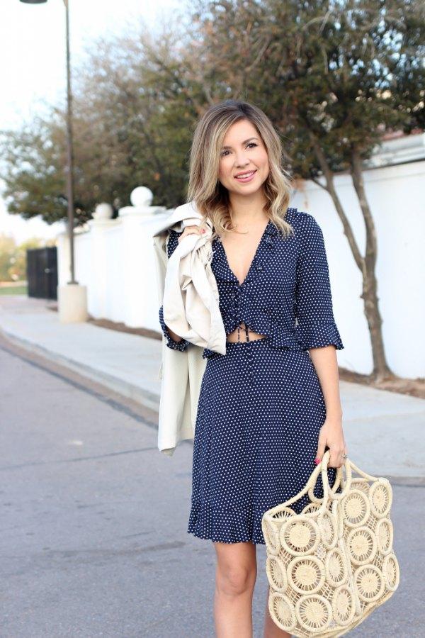 best blue polka dot dress outfit ideas for women