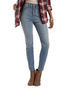 black and red plaid flannel shirt with skinny light blue jeans