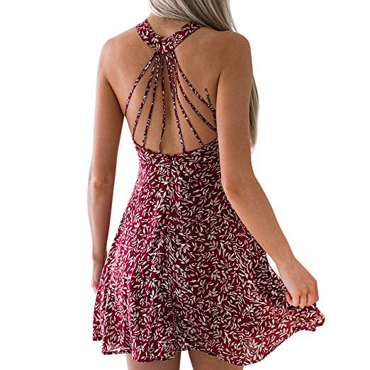 black and white floral printed low back halter mini dress