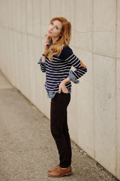 black and white striped long sleeve tee with brown oxford shoes