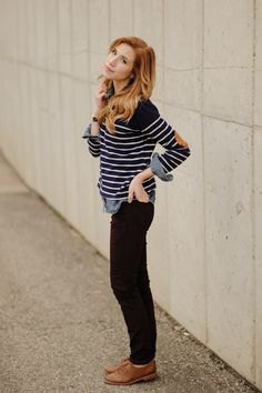 black and white striped sweater with jeans and brown leather shoes