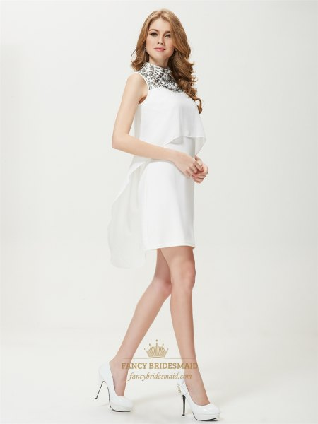black and white two layered mini shift dress with rounded toe pumps
