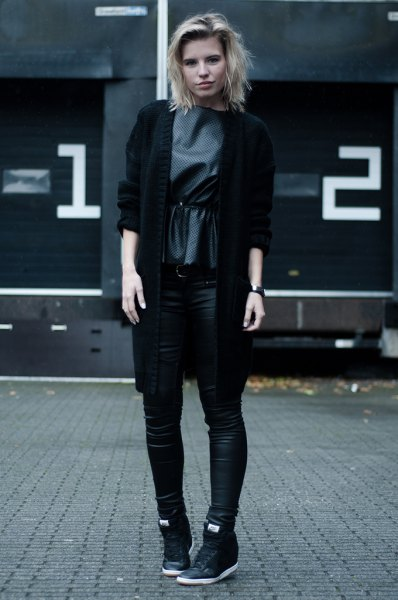 black blazer with grey silk blouse and leather high top sneakers