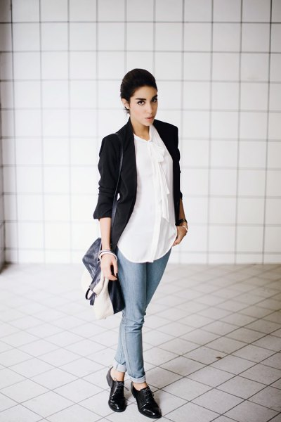 black blazer with white chiffon shirt and leather shoes