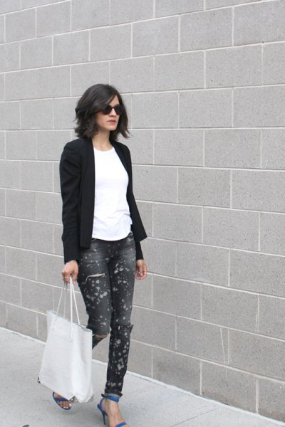black blazer with white tee and painted blue cuffed jeans