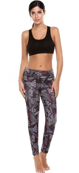 black cropped tank top with grey printed sports leggings