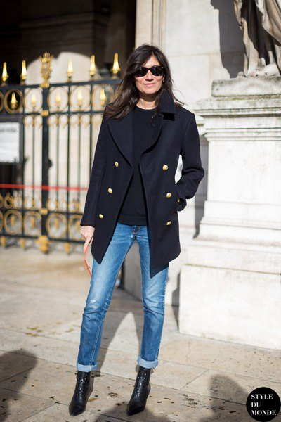 black double breasted coat with blue cuffed jeans
