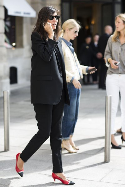 black long blazer with red cap toe kitten heels
