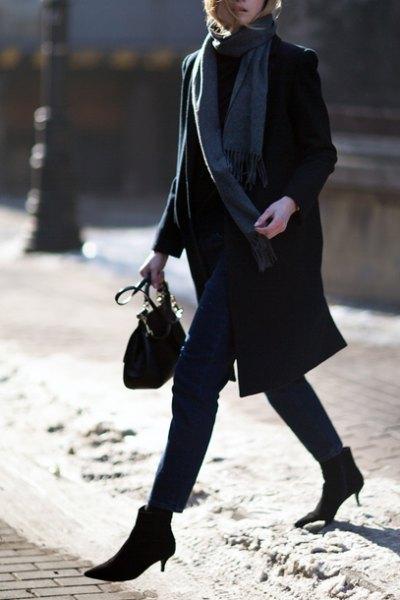 black longline wool coat with grey long scarf
