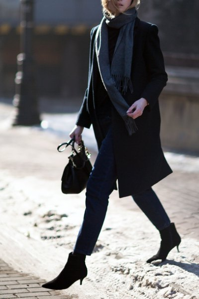 black longline wool coat with grey long scarf