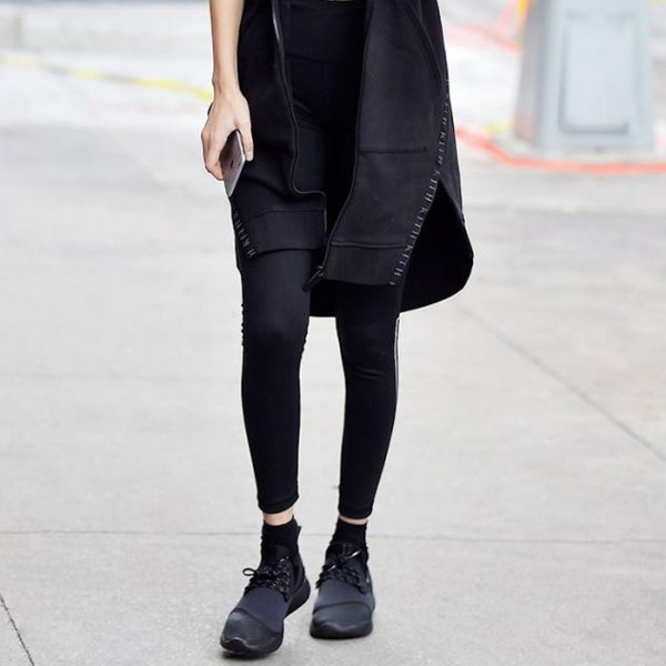 black mini shift dress with leggings and leather shoes