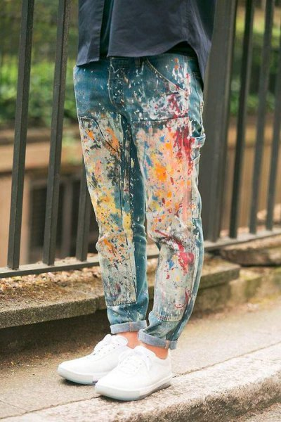 black oversized shirt with colorful painted boyfriend jeans