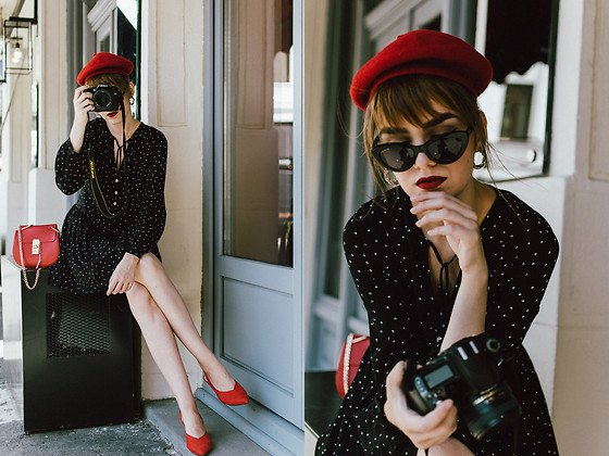 black polka dot fit and flare mini dress with red suede pointed toe kitten heels