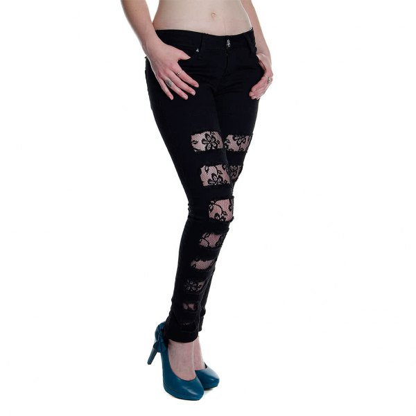 black ripped lace skinny jeans with dark navy blue leather heels