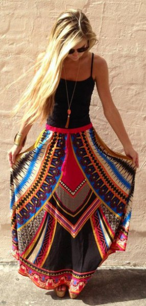 black scoop neck tank top with blue and red printed maxi gypsy skirt