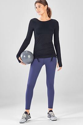 black slim fit long sleeve tee with navy blue workout pants