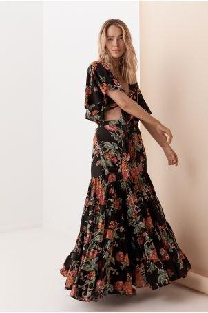 black two piece gypsy dress with open toe heels
