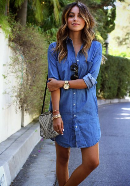 blue button up mini denim shirt dress with green checkered purse