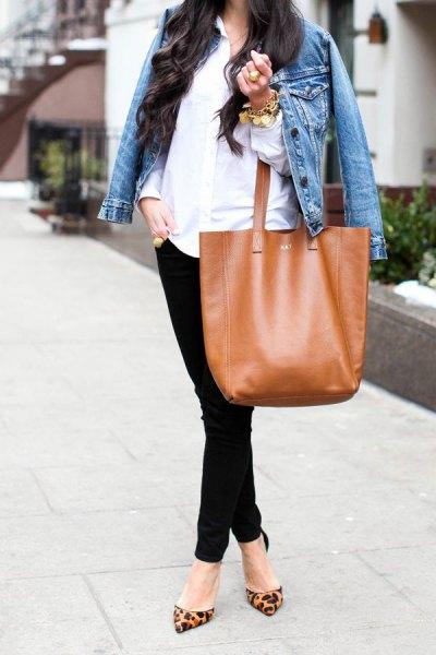 blue denim jacket with white button up linen shirt