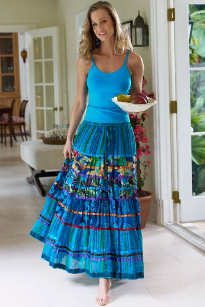 blue scoop neck tank top with matching pleated maxi gypsy skirt