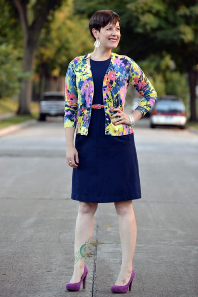 blue yellow and pink printed cardigan with navy fit and flare dress