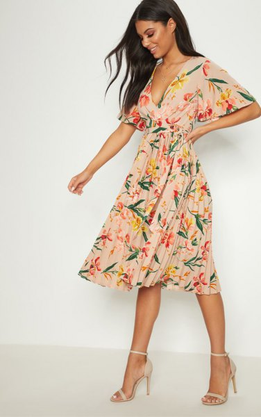blush pink deep v neck pleated floral printed chiffon dress with open toe heels