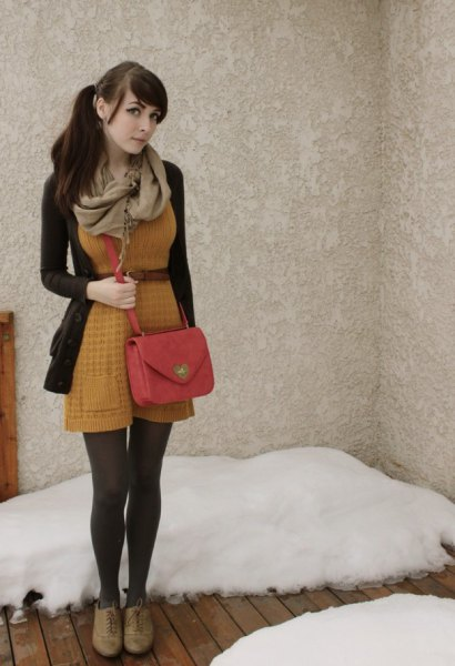 brown belted knit fit and flare mini dress with black cardigan sweater