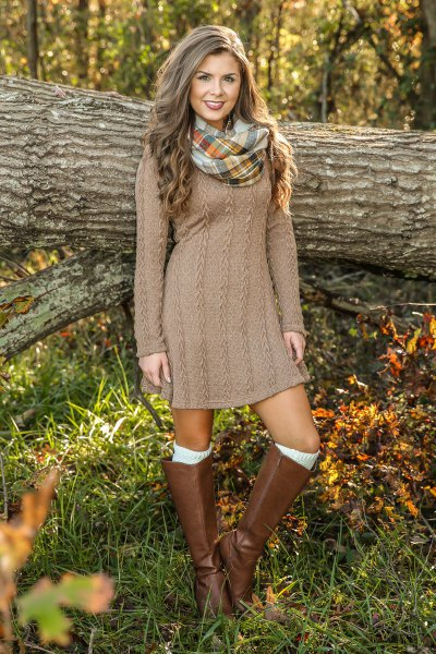 brown cable knit mini dress with knee high leather boots