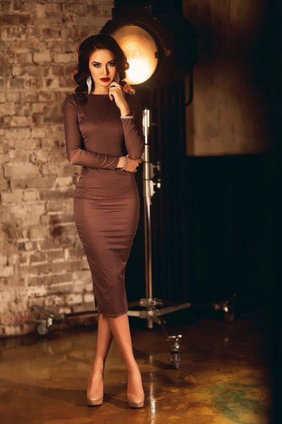 brown long sleeve midi bodycon dress with pale pink platform heels