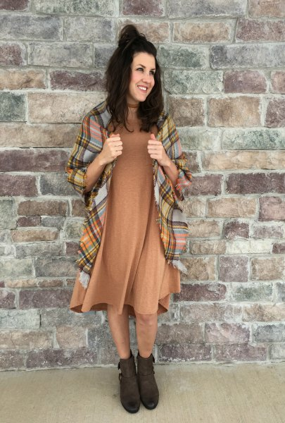 brown midi swing dress with plaid blanket scarf