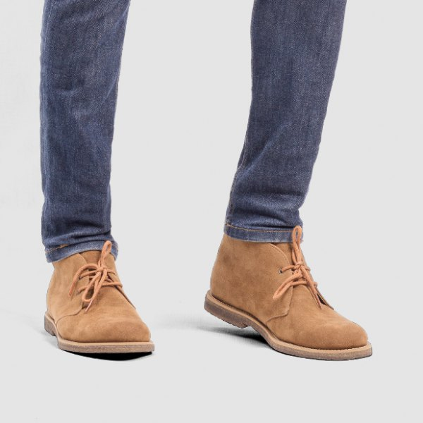 camel suede wingtip shoes with dark blue slim fit jeans